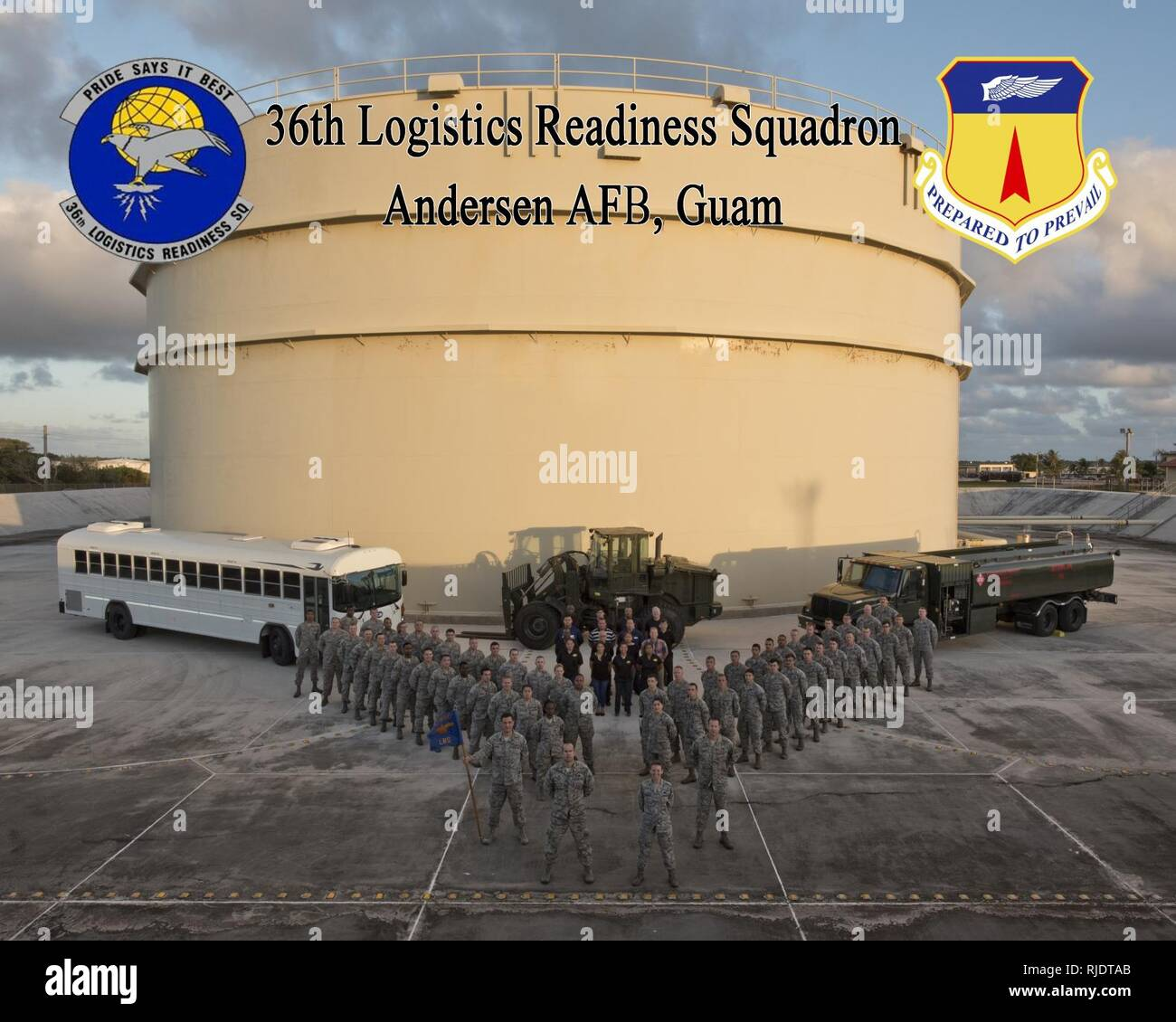 the 36th Logistics Readiness Squadron poses for a Squadron photo Jan. 11, 2018, at Andersen Air Force Base, Guam. The 36th Logistics Readiness Squadron provides Team Andersen with the full spectrum of logistics support to include operating the largest fuel storage location in the Air Force and overseeing the installation deployment and reception operations. - Stock Image