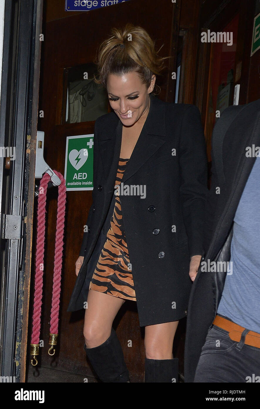 53afe9afa8d6a9 Celebrities leaving the Phoenix Theatre in London after Caroline Flack's  final night performance in 'Chicago
