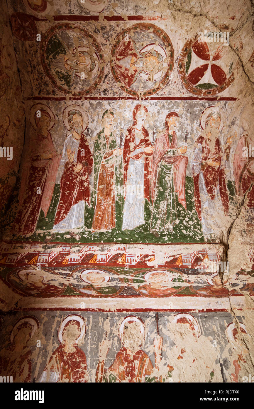 Goreme, Nevsehir Province, Turkey : Christian murals inside a rock hewn church near Goreme in the historical Cappadocia region. - Stock Image