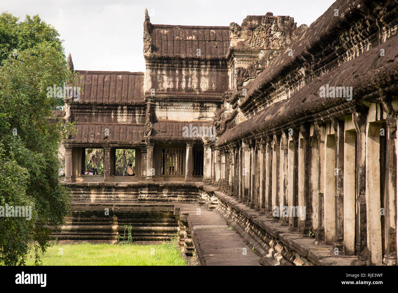 Rest and Contemplation at Angkor Wat - Stock Image