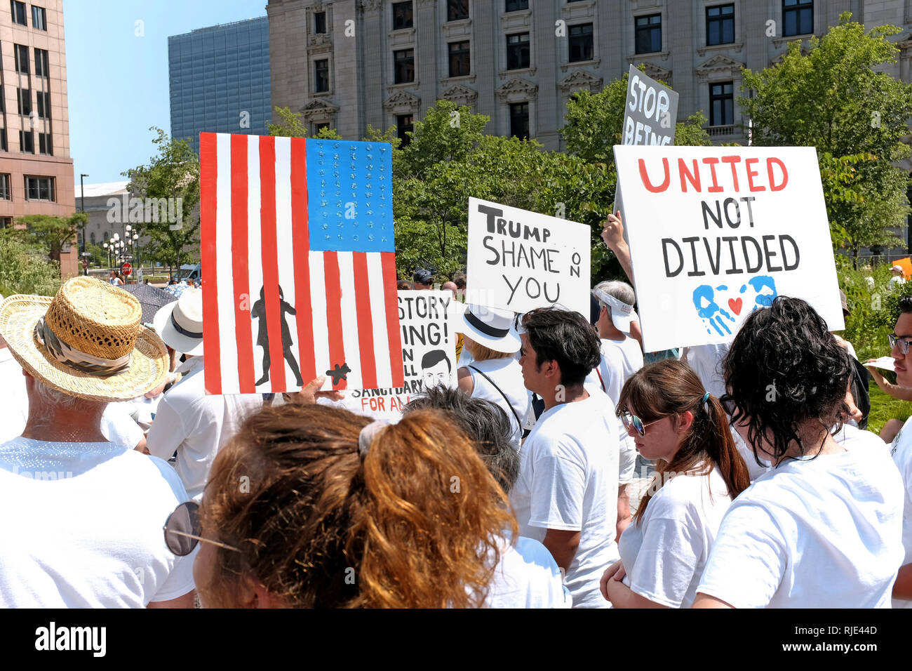 Public Square in downtown Cleveland, Ohio, USA is the site of a protest rally against the Trump Administration immigration policies. - Stock Image