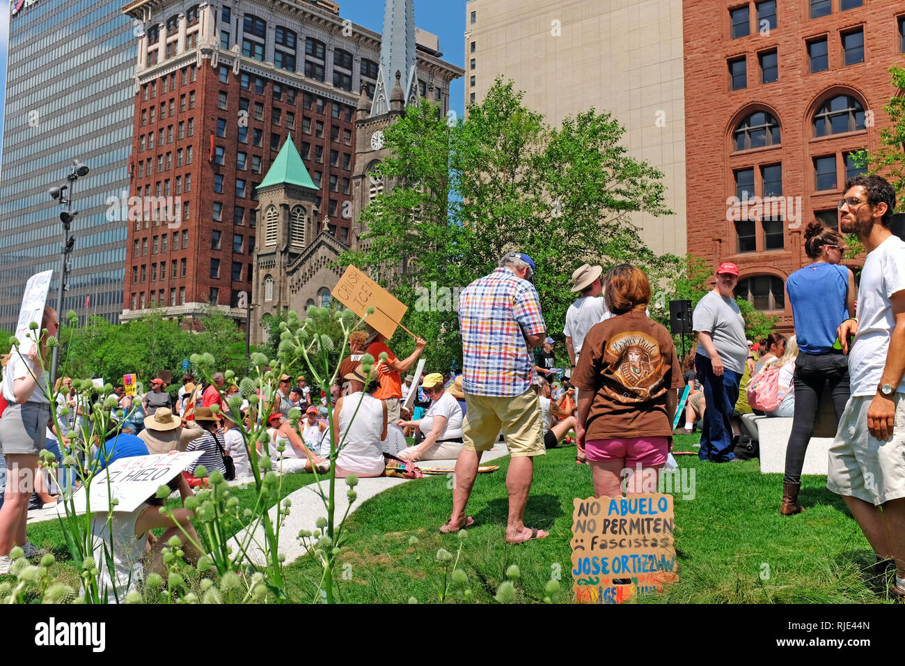 Downtown Cleveland Public Square in Cleveland, Ohio, USA filled with protesters against Trump Administration Immigration policies and actions Stock Photo
