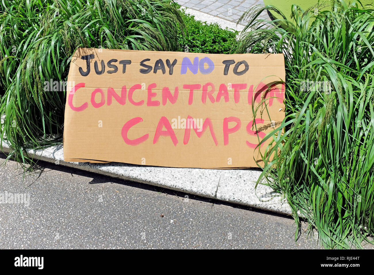 A sign at a rally opposing the Trump Administration immigration policies states 'Just Say No to Concentration Camps'. - Stock Image