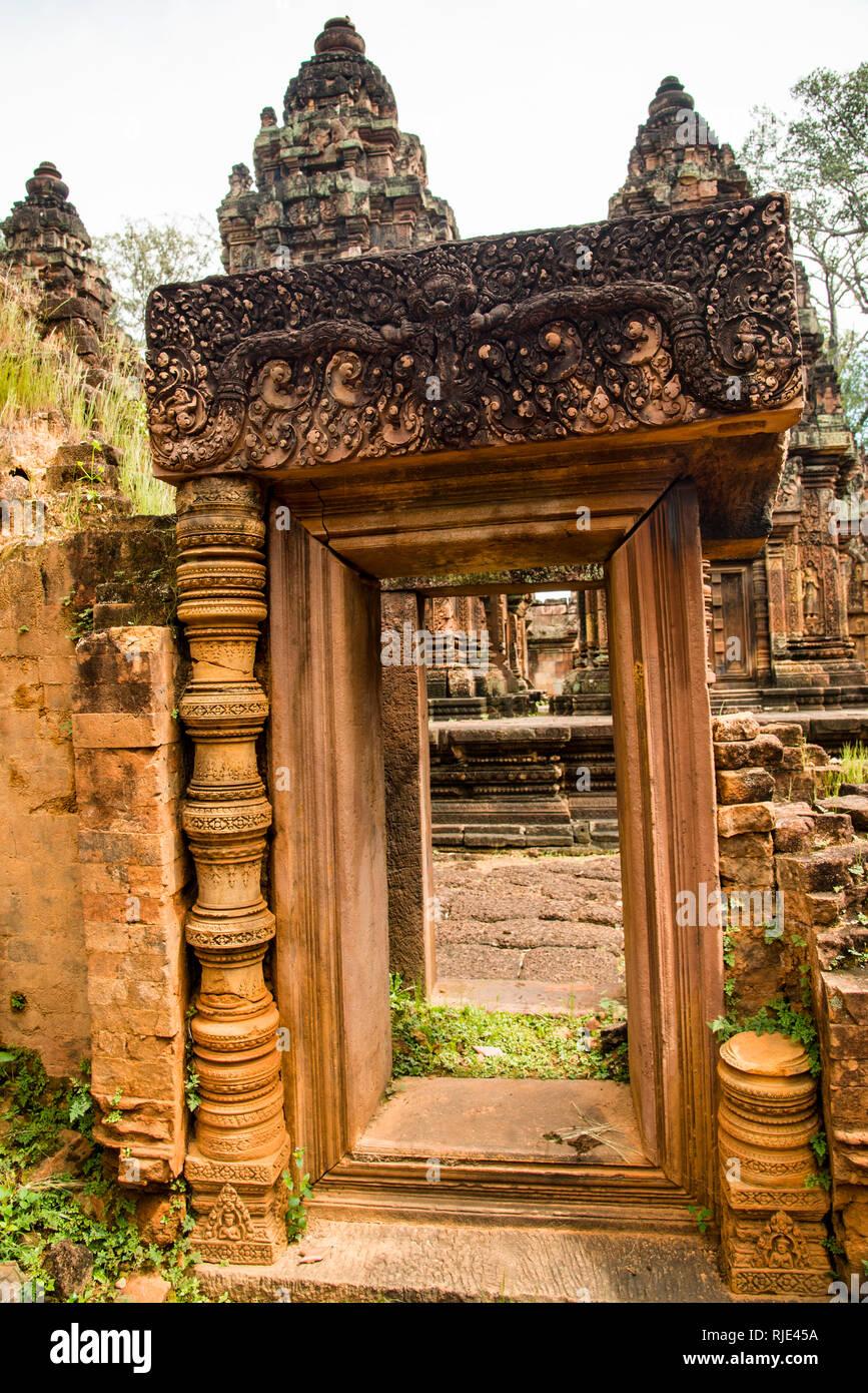 Temple Entrance of Banteay Srei Angkor Wat Temple - Stock Image
