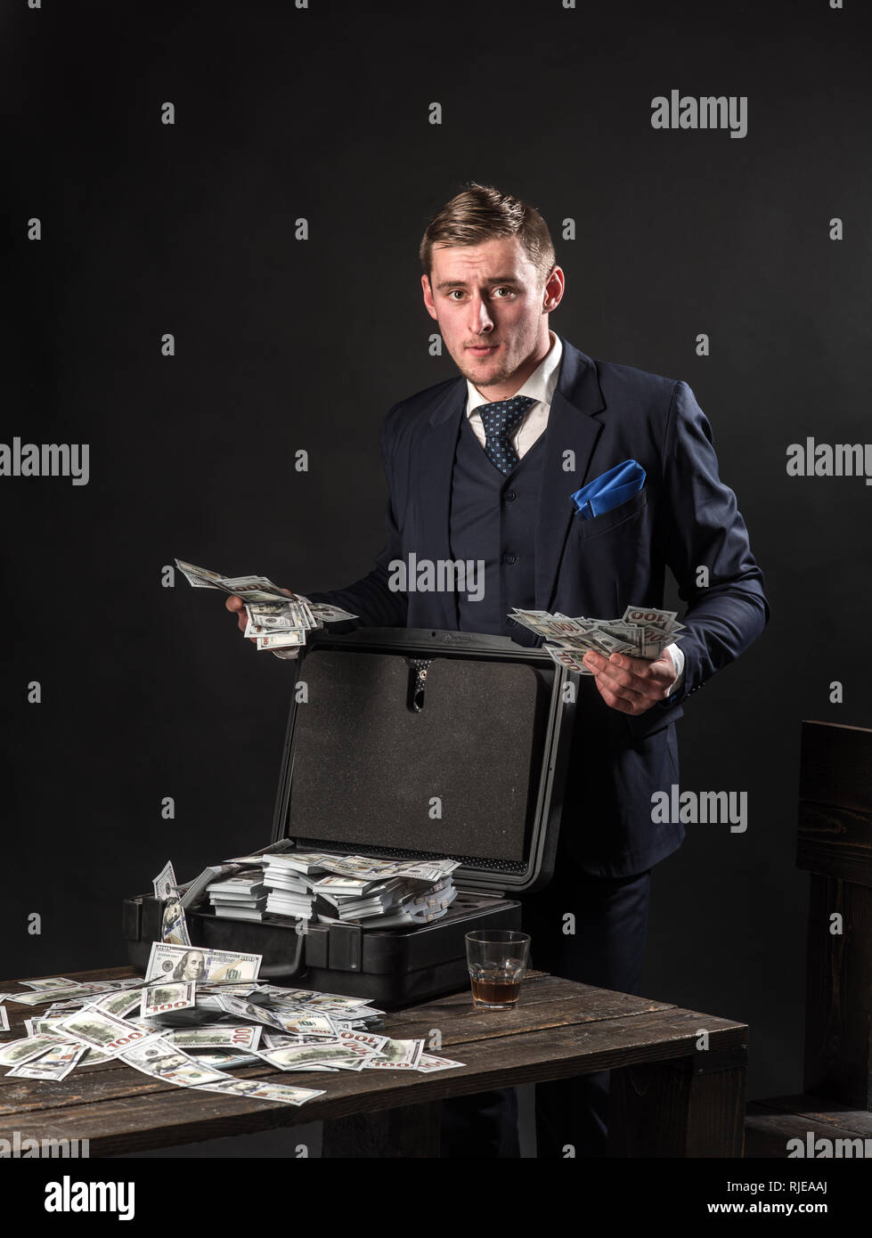 Businessman work in accountant office. Small business concept. Man in suit. Mafia. Making money. Economy and finance. Man bookkeeper. Money - Stock Image