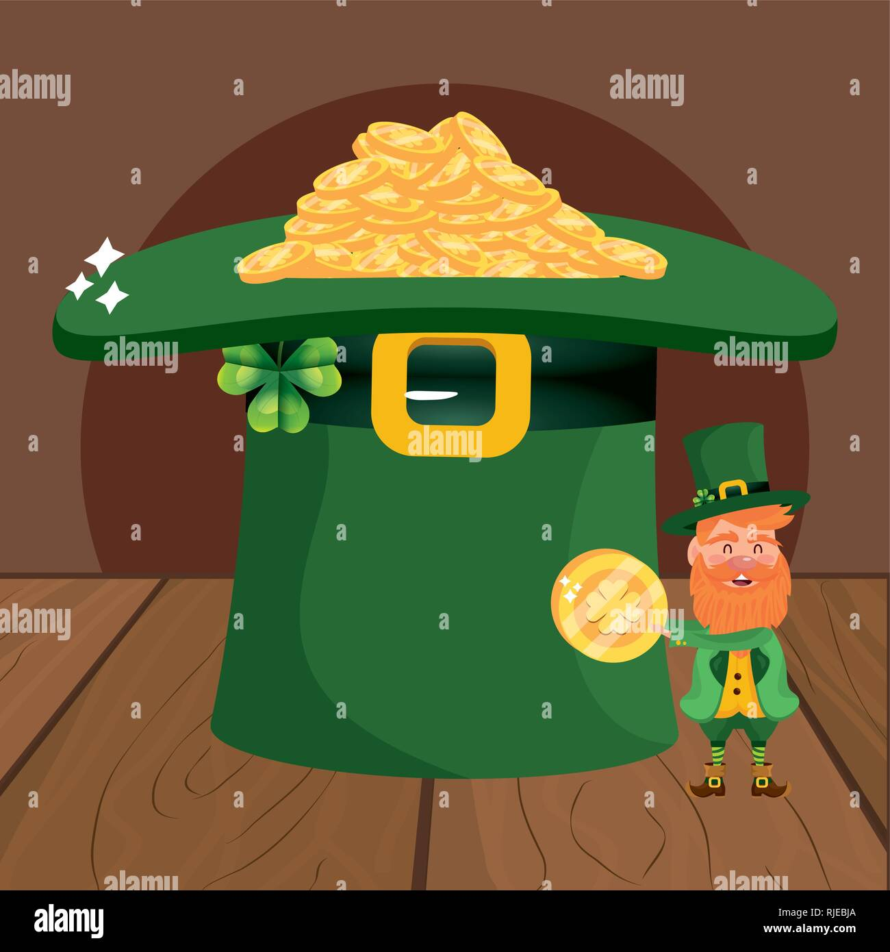 leprechaun hat fortune dwarf - Stock Vector