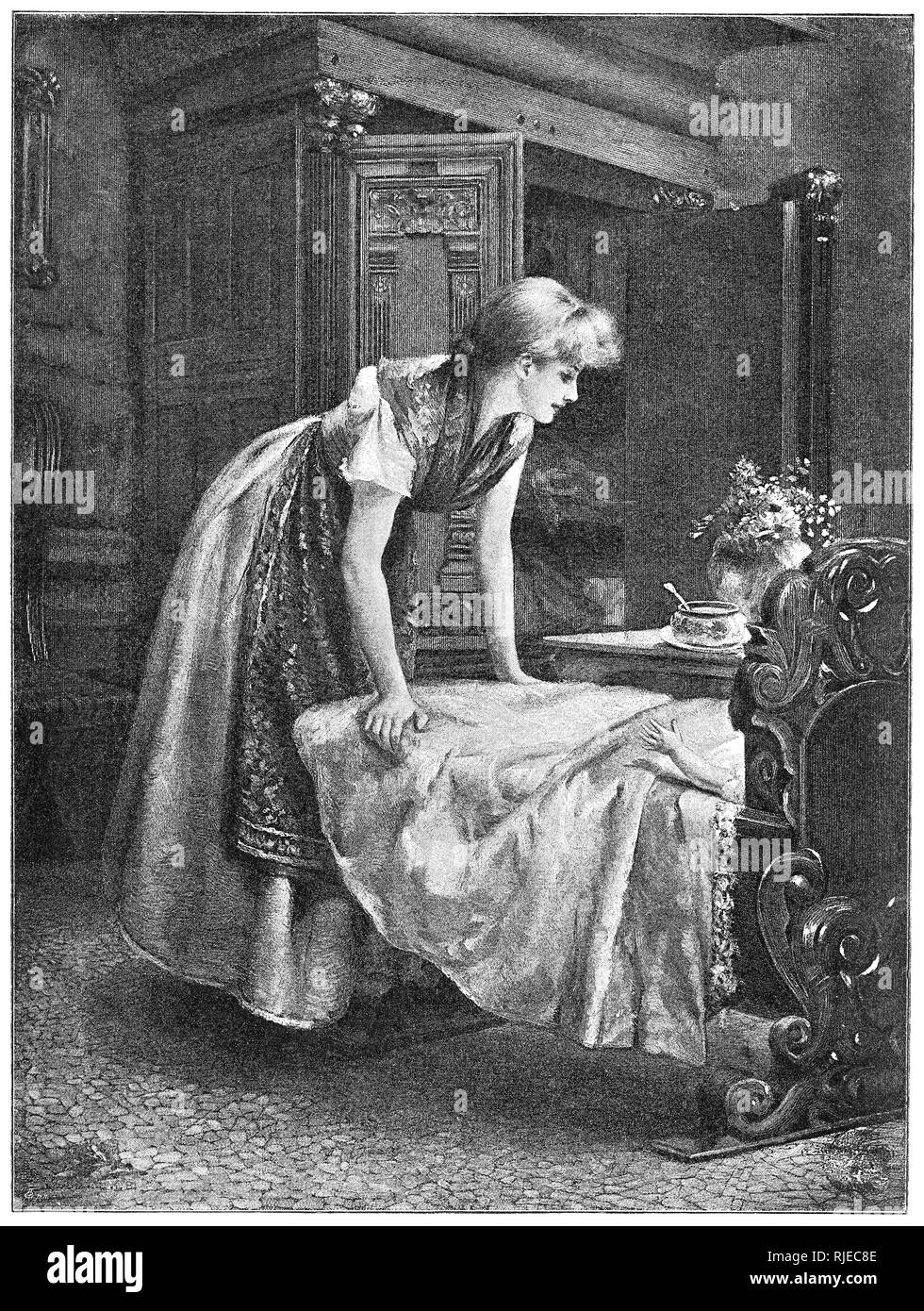 Victorian illustration 'Mother's darling.' From Nister's Holiday Annual 1892. - Stock Image