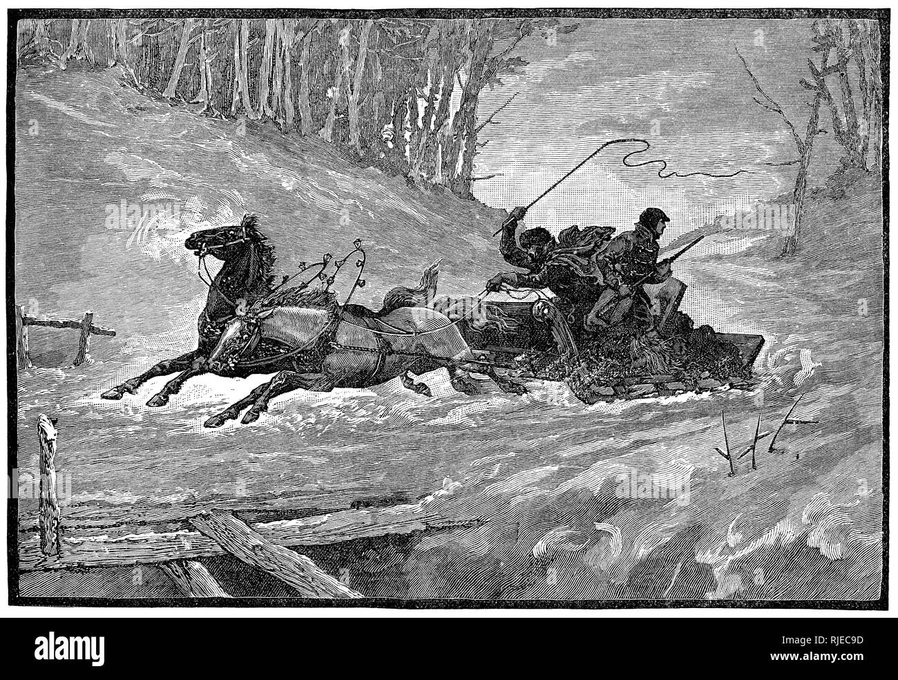 1888 Victorian engraving of horse-drawn sleigh travelling at speed through a snowy landscape. Stock Photo