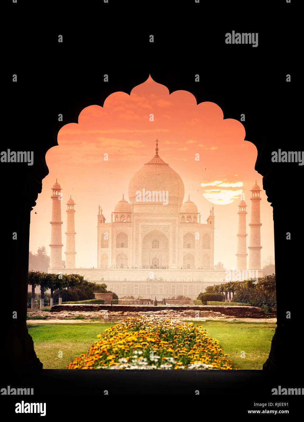 Taj Mahal Monument View From Arch Silhouette And Beautiful