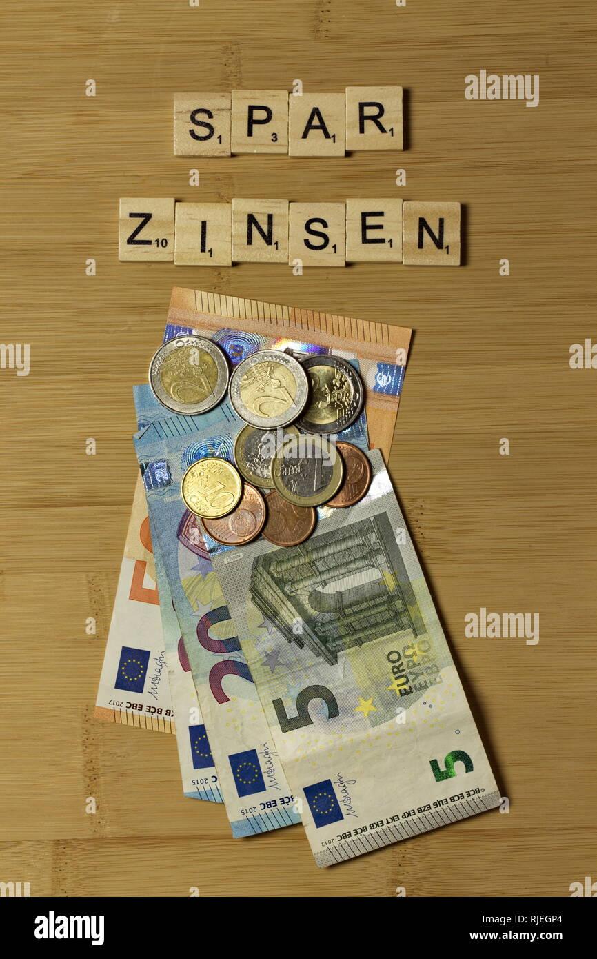 Sign savings interest german Sparzinsen Stock Photo