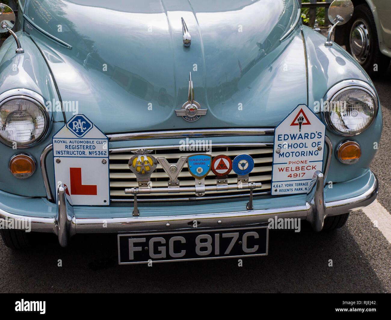 Morris Minor 1000 1965 (driving school car) - Stock Image