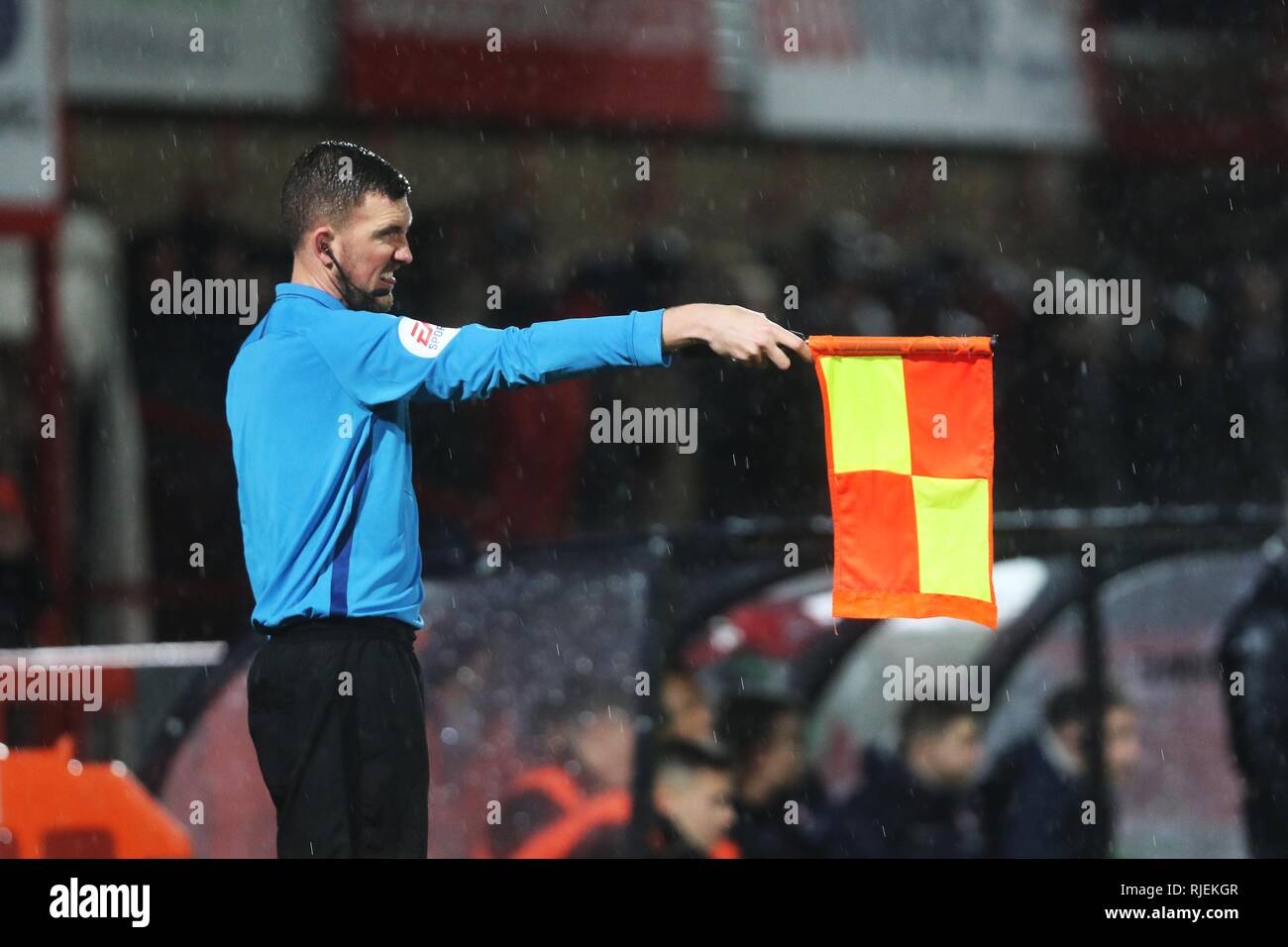 Assistant referee / Linesman/ Lino / Ref / Referee / League two / Cheltenham Town Football Club  Picture by Antony Thompson - Thousand Word Media, NO  - Stock Image