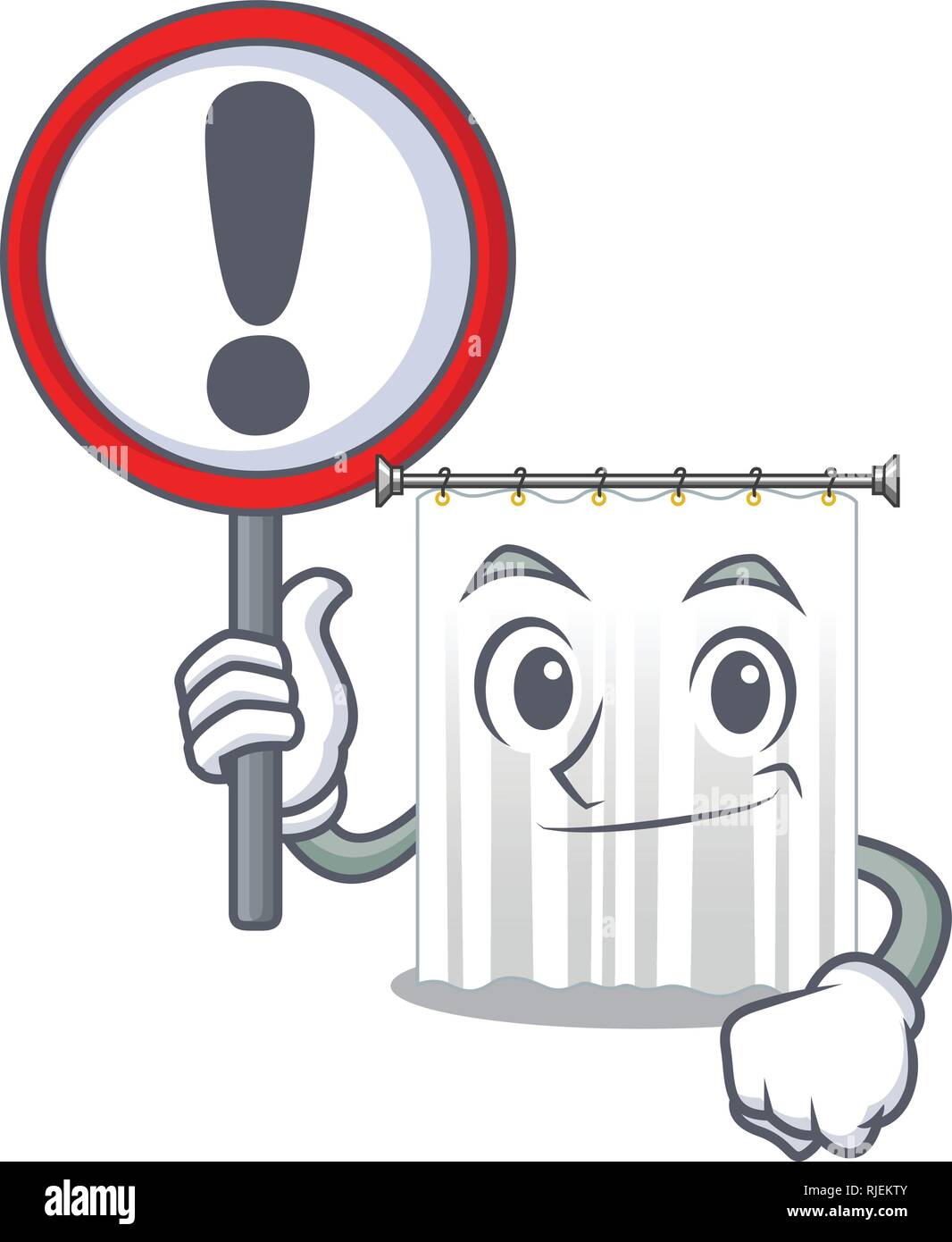 With sign shower cortains in shape of mascot - Stock Image