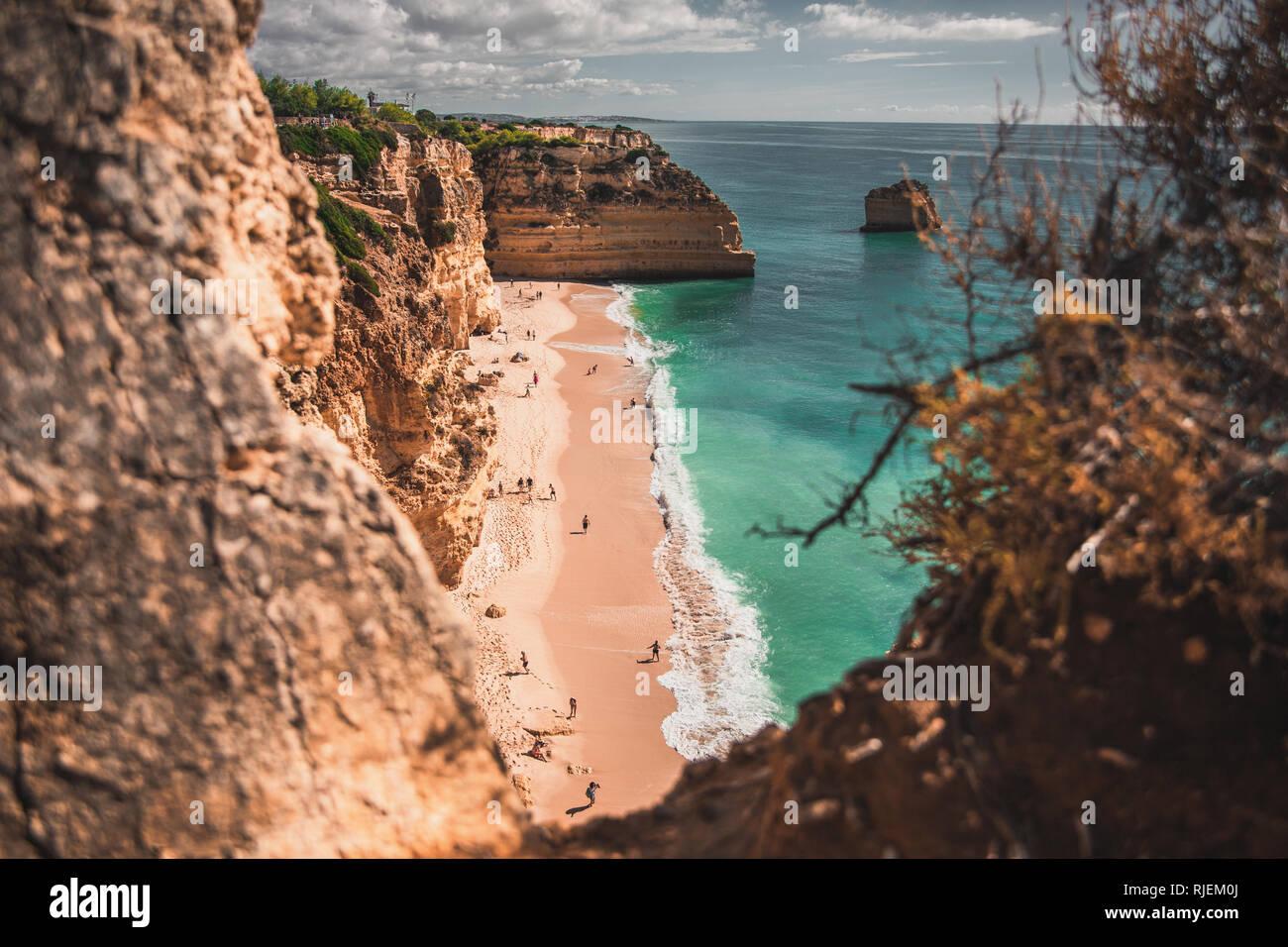 Beautiful cliff beach at Algarve, Portugal. - Stock Image