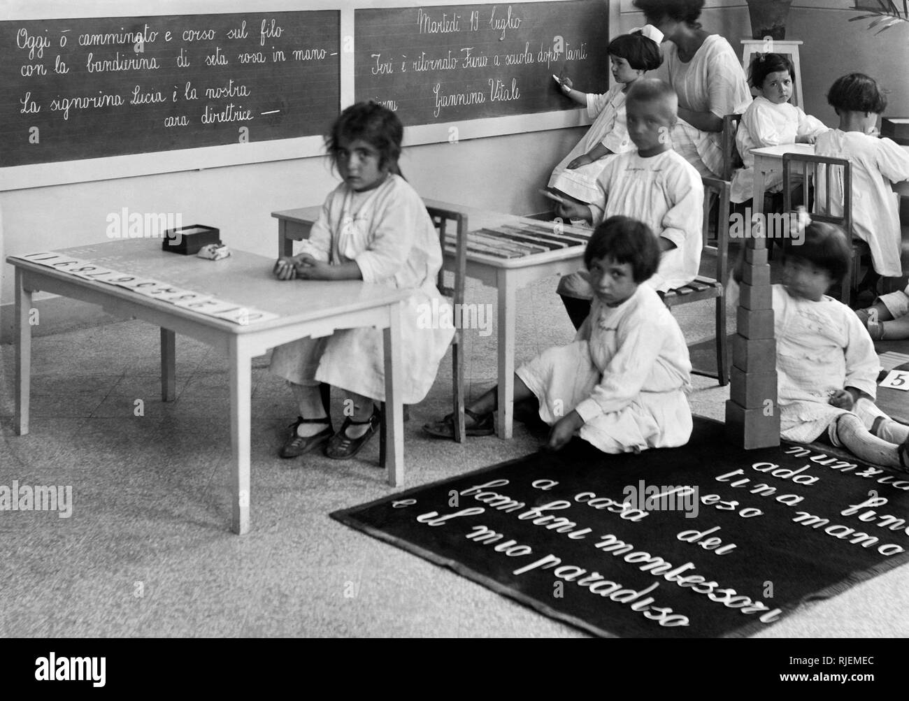 Montessori kindergarten naples 1920 30 stock image