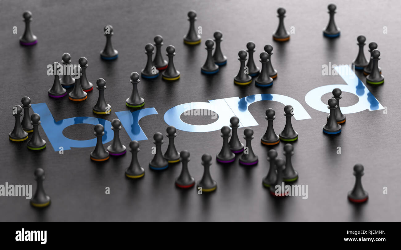 3D illustration of a brand name with pawns surrounding it over black background. Marketing and customer loyalty concept. - Stock Image