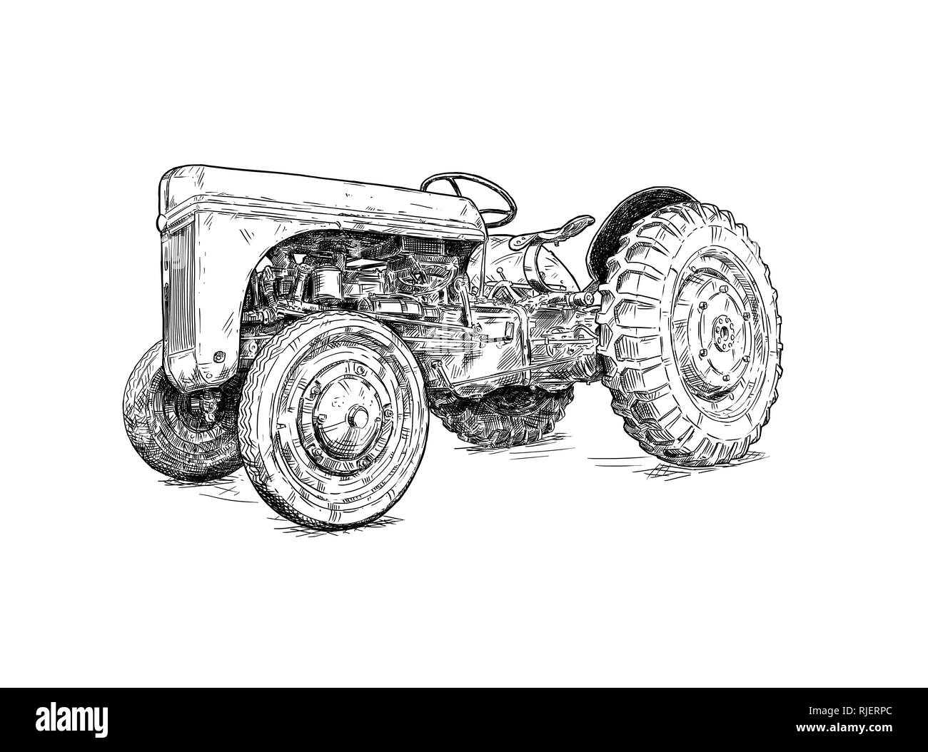 Cartoon or Comic Style Drawing of Old or Vintage Red Tractor - Stock Image