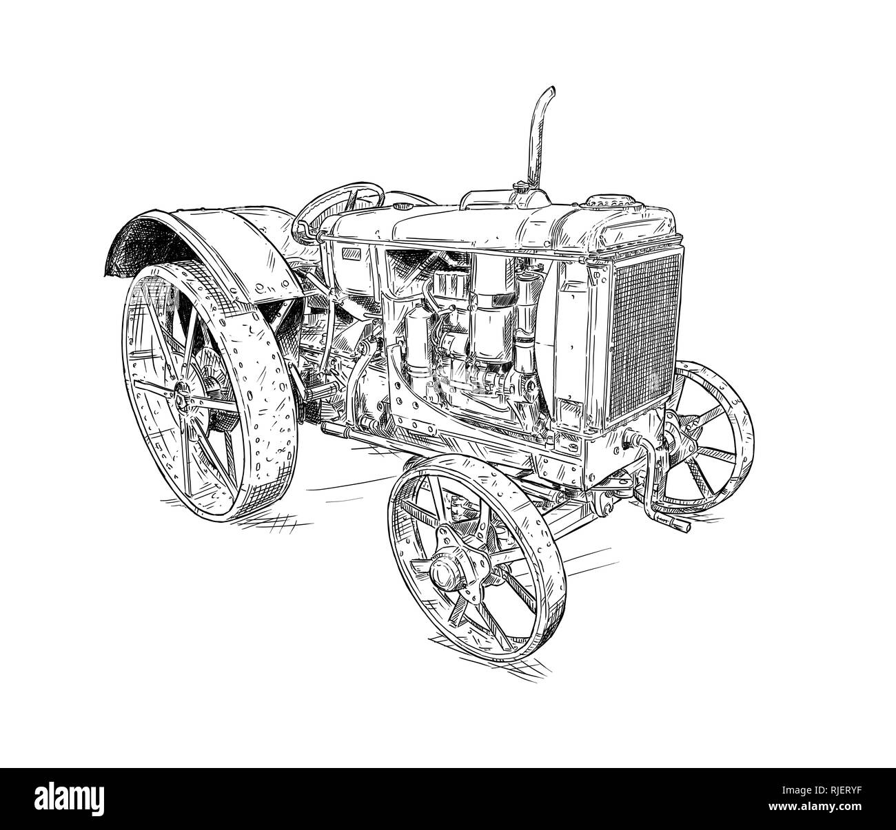 Cartoon or Comic Style Drawing of Old or Vintage Tractor - Stock Image