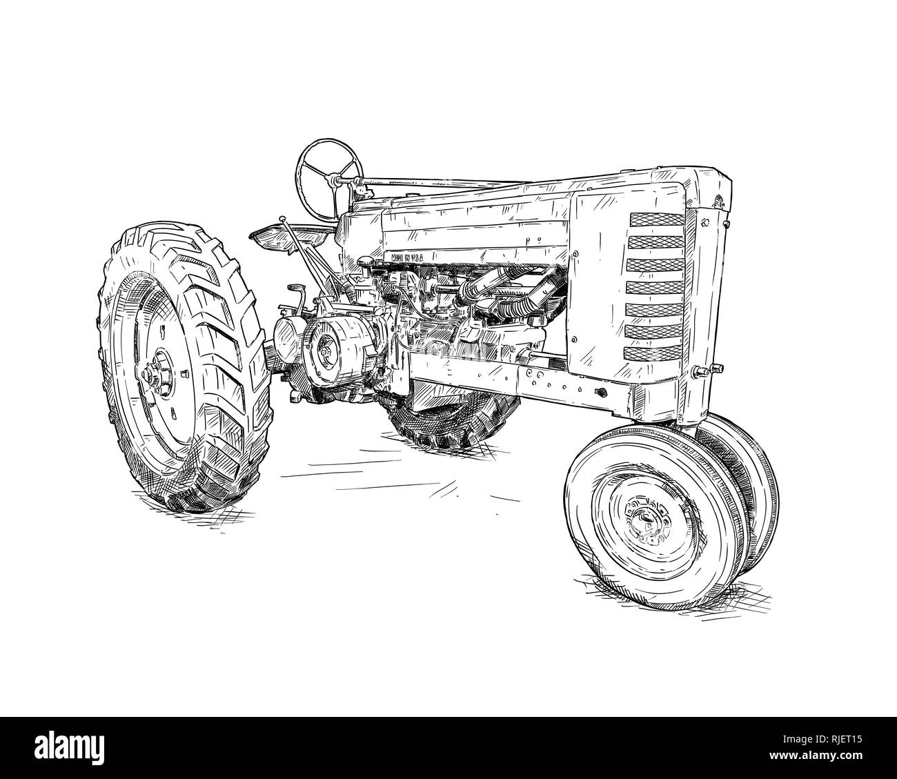 Artistic Digital Drawing Illustration of Old Tractor - Stock Image
