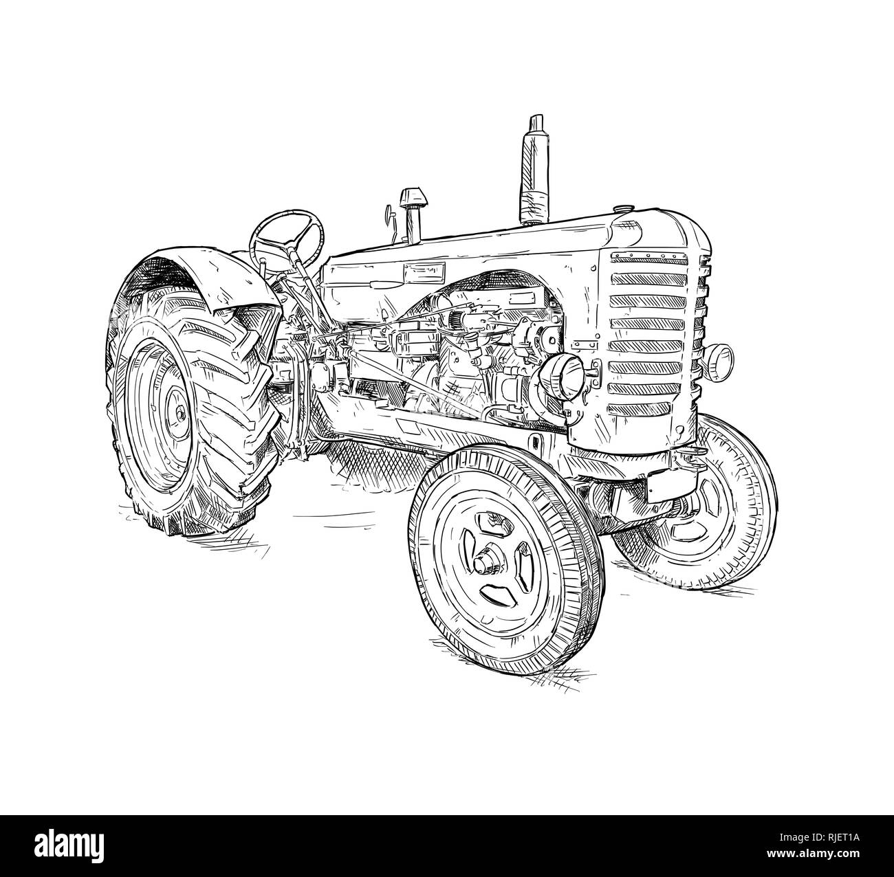 Cartoon or Comic Style Illustration of Old Tractor - Stock Image
