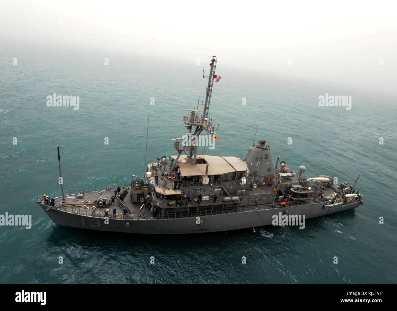 ARABIAN GULF (April 23, 2010) The Avenger-class mine countermeasures ship USS Dextrous (MCM 13) conducts drills in the Arabian Gulf. - Stock Image