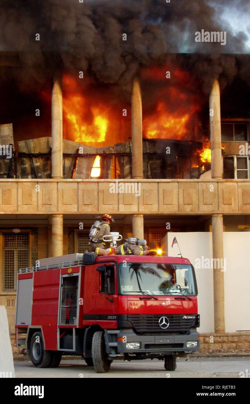 Flames engulf the U S  Embassy second floor in Baghdad, Iraq