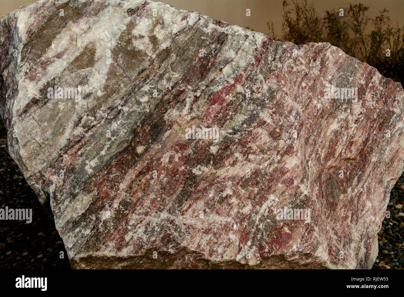 Marble is a metamorphic rock composed of recrystallized carbonate minerals, most commonly calcite or dolomite- geology - Stock Image