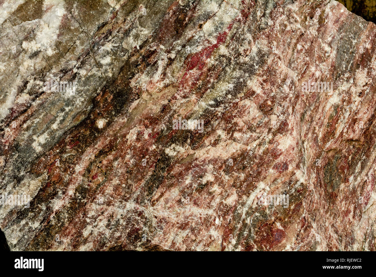 Marble is a metamorphic rock composed of recrystallized carbonate minerals, most commonly calcite or dolomite- geology texture or background - Stock Image
