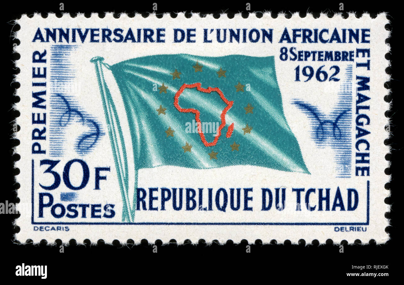 Postmarked stamp from Chad in the 1st Anniv of Union of African and Malagasy States series issued in 1962 - Stock Image