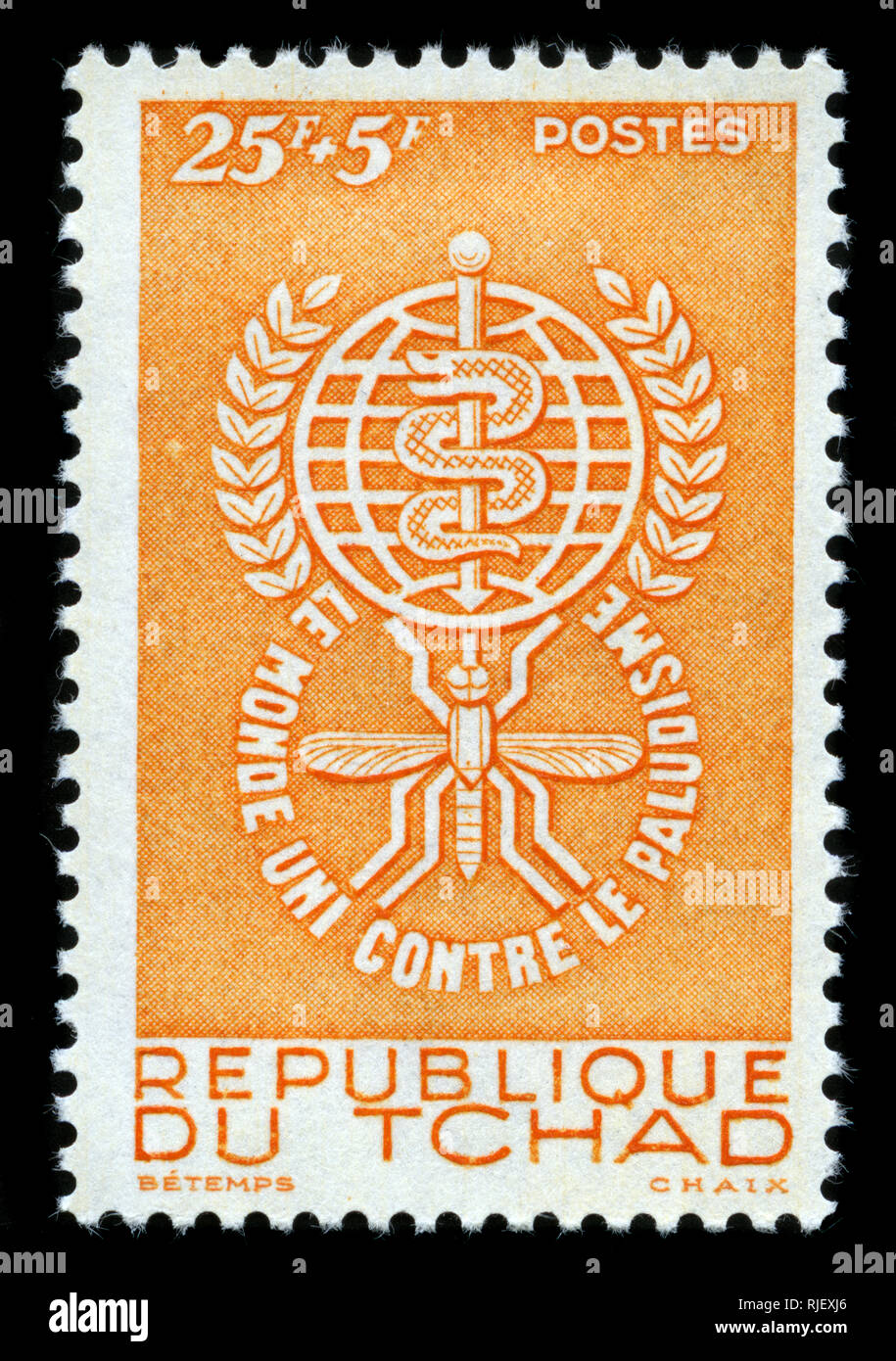 Postmarked stamp from Chad in the Fight against Malaria series issued in 1962 - Stock Image