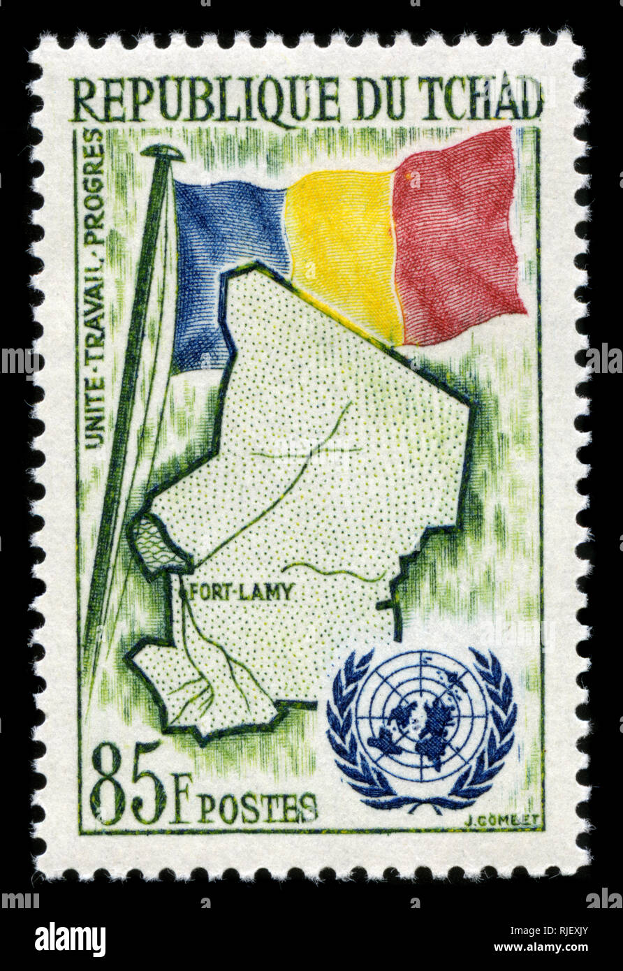 Postmarked stamp from Chad in the UN (United Nations) Membership series issued in 1961 - Stock Image