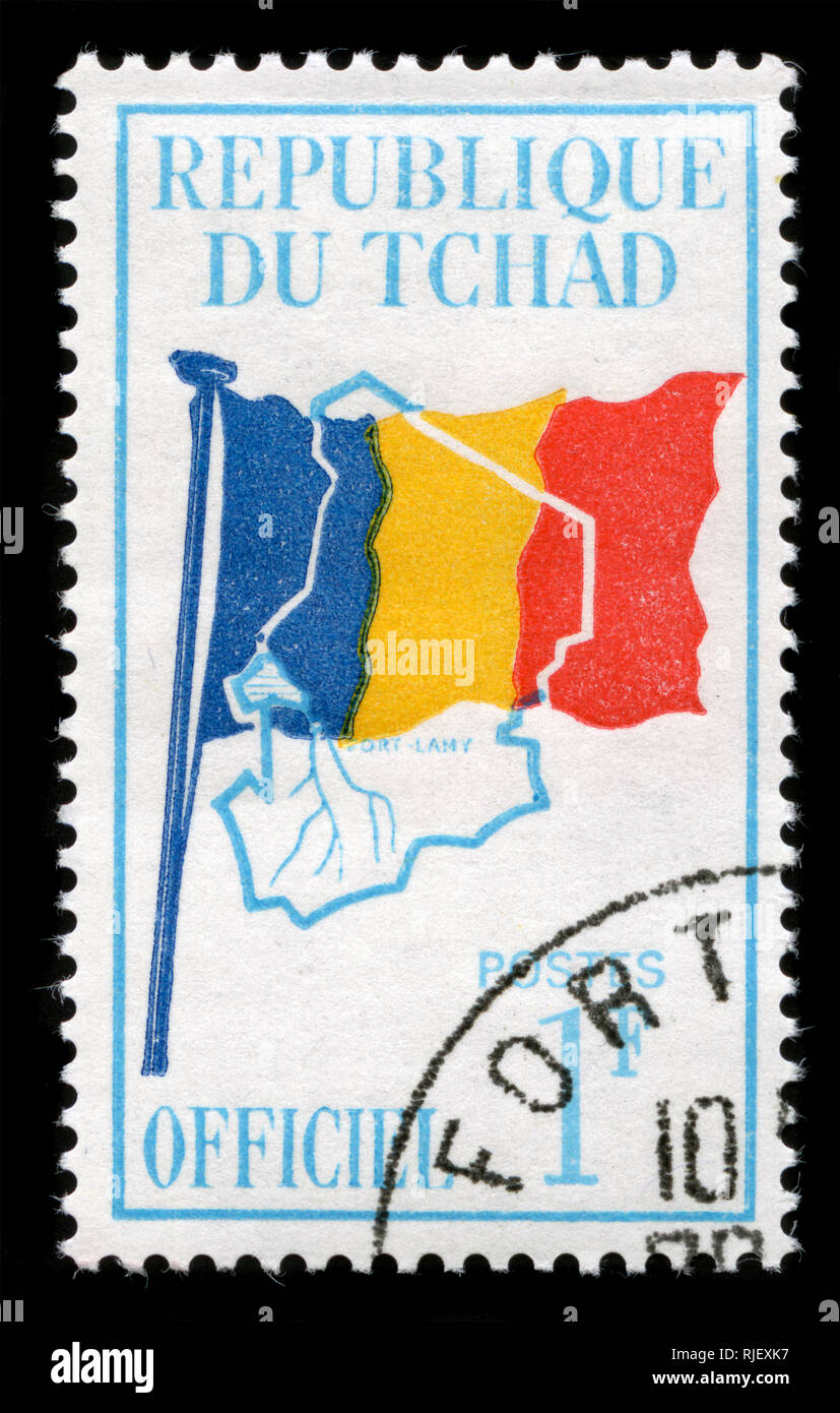 Postmarked stamp from Chad in the Official issue of 1966 - Stock Image