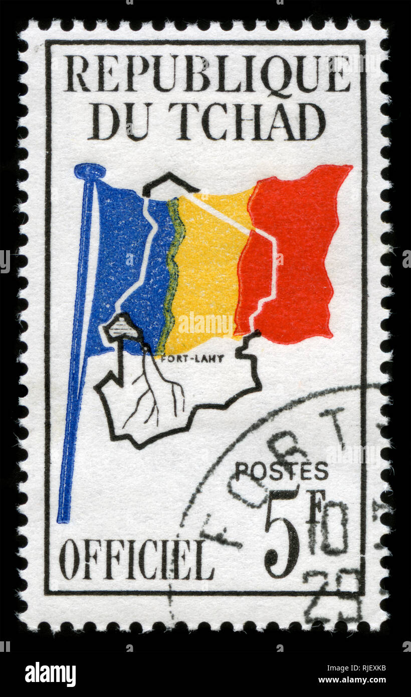Postmarked stamp from Chad in the Official issue of 1966 Stock Photo