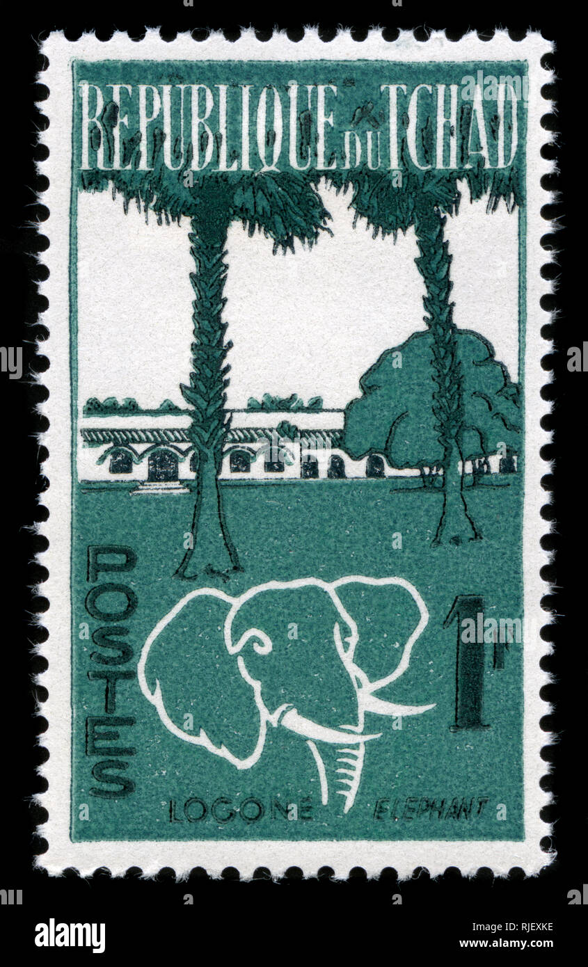 Postmarked stamp from Chad in the Animals and Landscapes series issued in 1962 - Stock Image