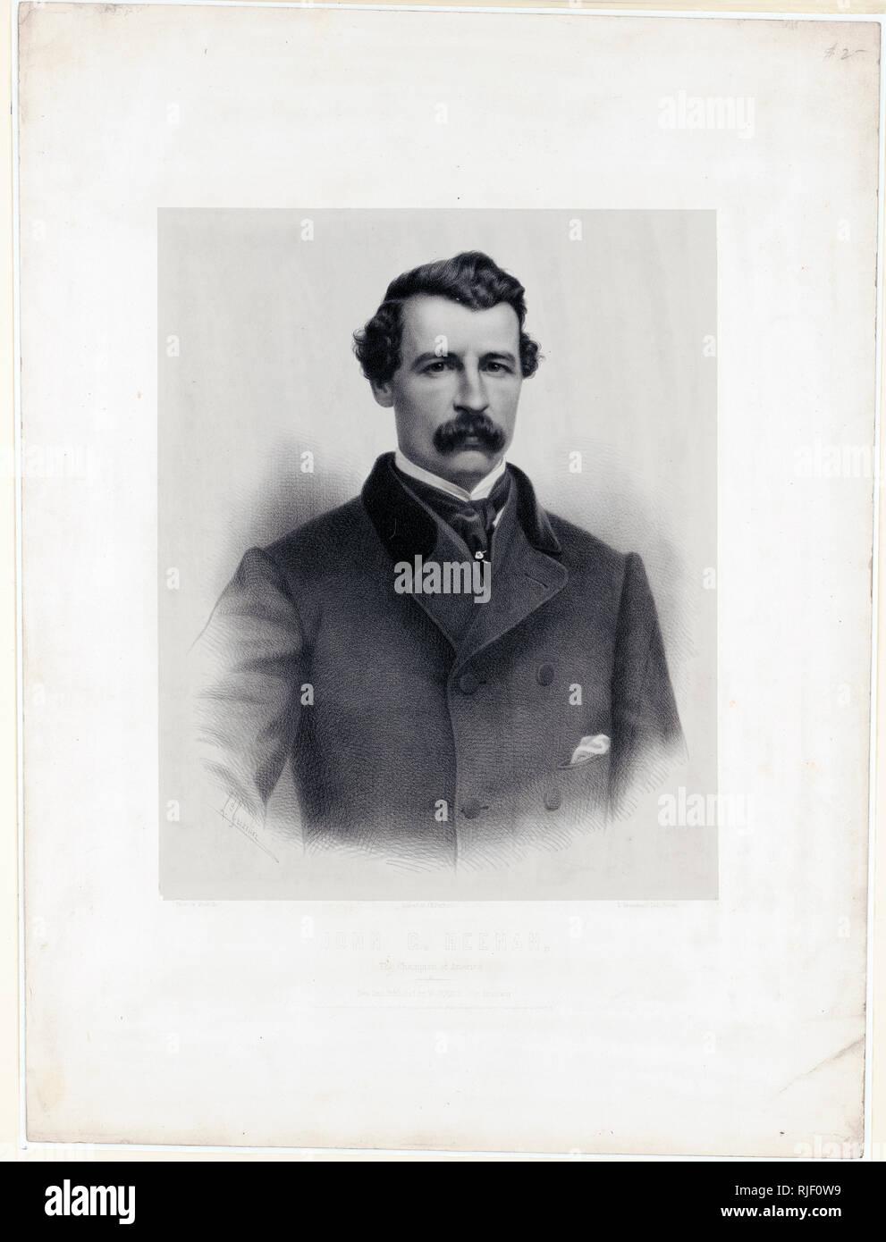 Print shows a head and shoulders portrait of boxer John Carmel Heenan. - Stock Image