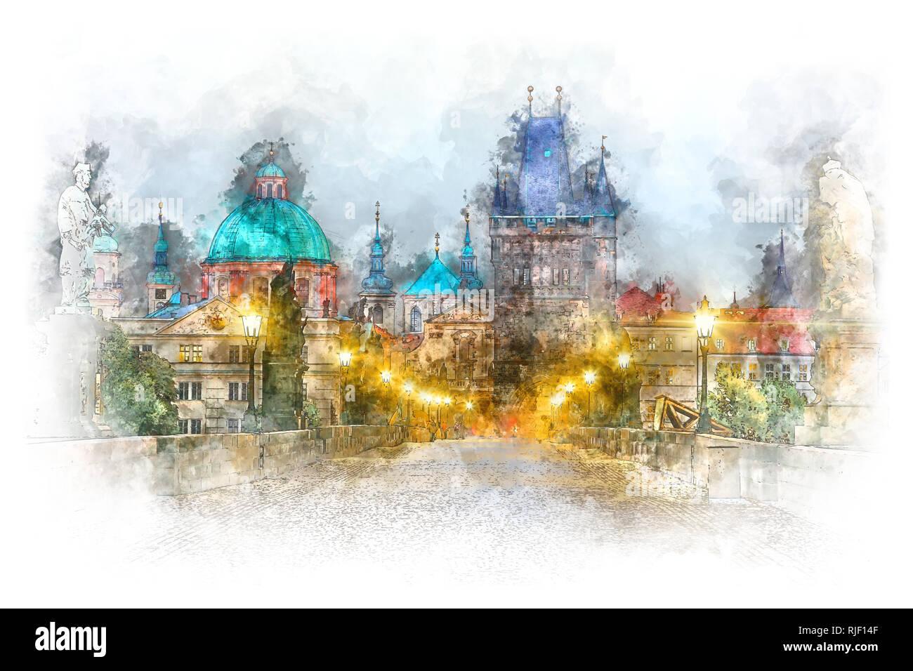 Prague - famous landmark Charles Bridge with illumination, watercolor artwork. Czech, Europe - Stock Image