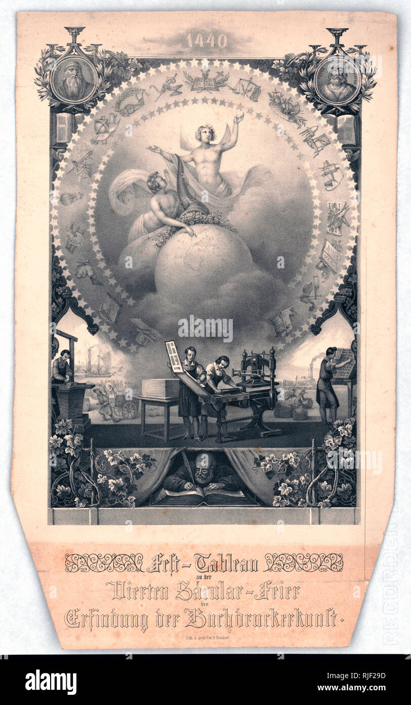 """Print shows an allegorical scene with men working in a printer's shop at presses and setting type beneath a large circle with angels holding a cornucopia over a globe, they are encircled by stars and images of inventions, at the base is """"1840""""; at the top of the print, between portraits of """"Johannes Guttenberg"""" and """"Peter Schoeffer"""", is the date """"1440""""; at the bottom of the print is a man writing in a large book. Background vignettes show a steamboat and a steam locomotive. Stock Photo"""