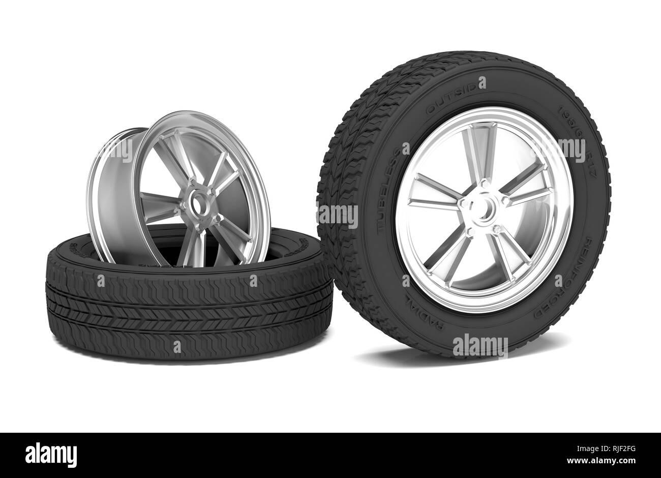 Car alloy wheel and tyre on white background. 3D illustration - Stock Image
