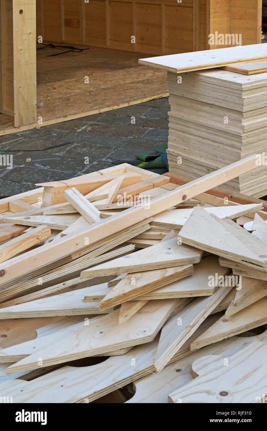 Wood boards at a construction site Stock Photo