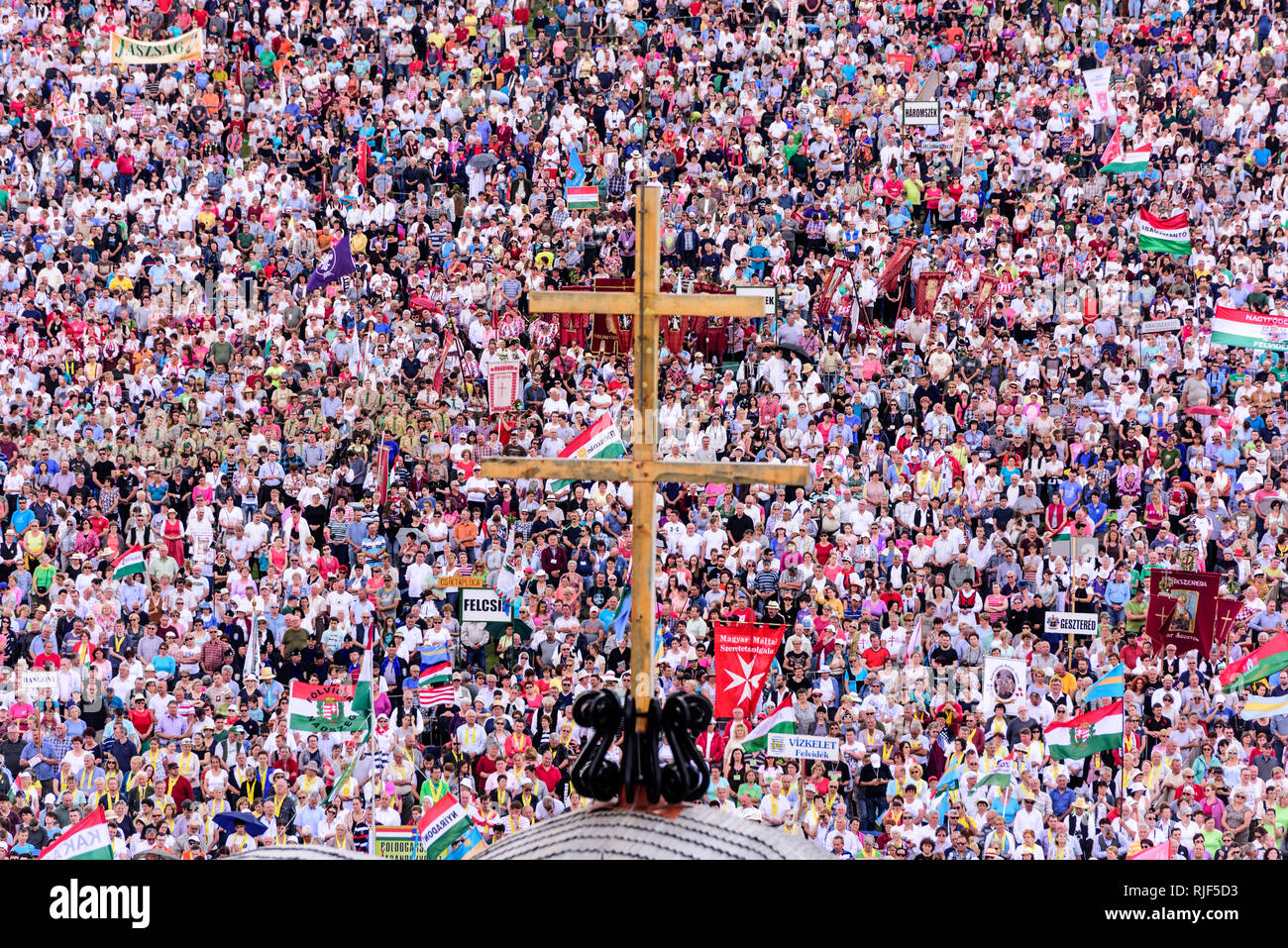 Sumuleu Ciuc, Romania - May 19, 2018: Hungarian Catholic pilgrims, crowd of people gathering in Csiksomlyo to celebrate the Pentecost. The religious e - Stock Image