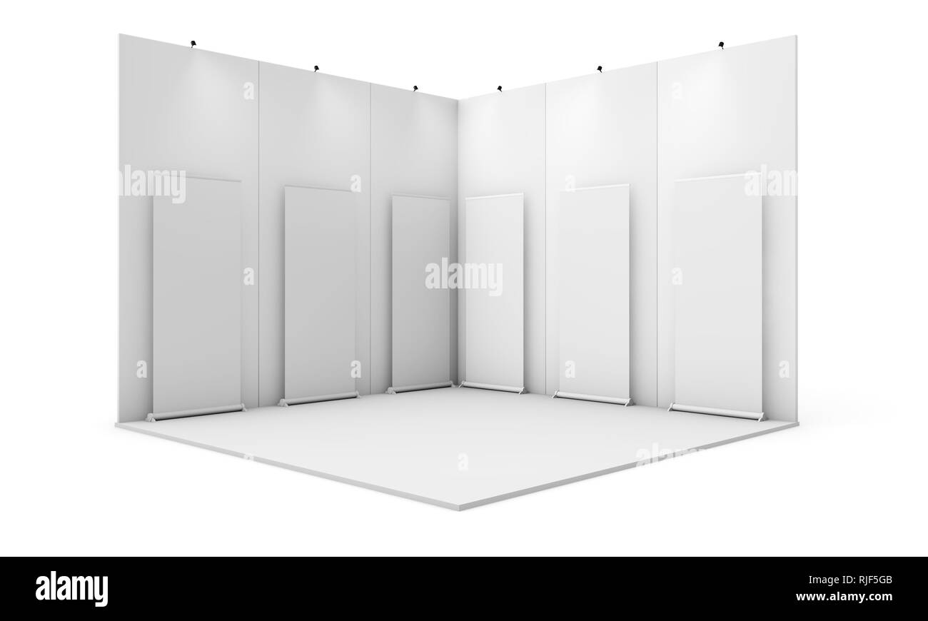 Exhibition Stand Mockup : Exhibition stand with six rollups d rendering isolated mockup
