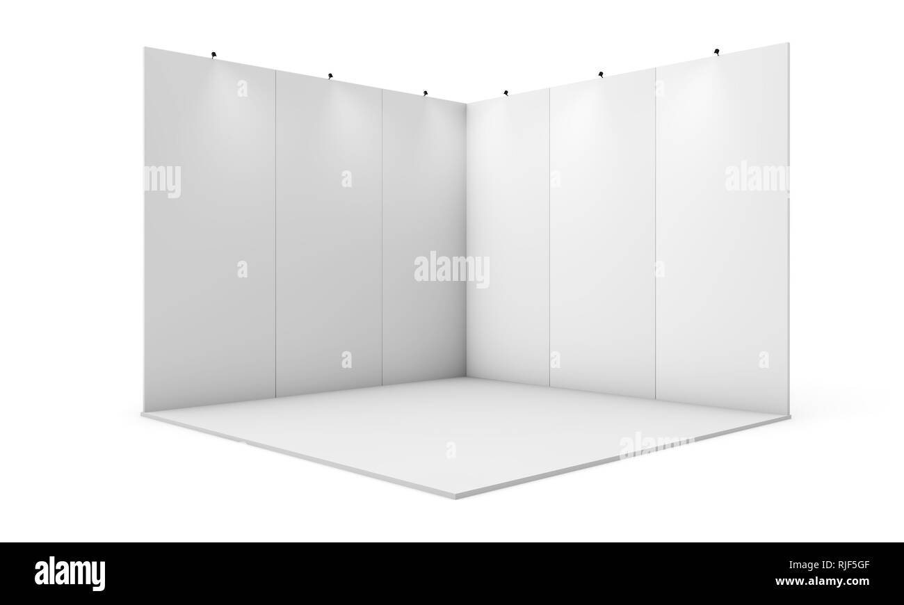 Exhibition Stall Mockup : Exhibition booth 3d rendering isolated mockup stock photo: 235132255