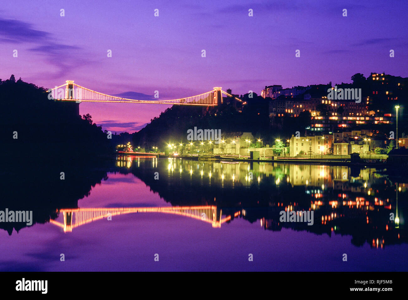 Bristol, UK; View of the Clifton suspension bridge at dusk Stock Photo