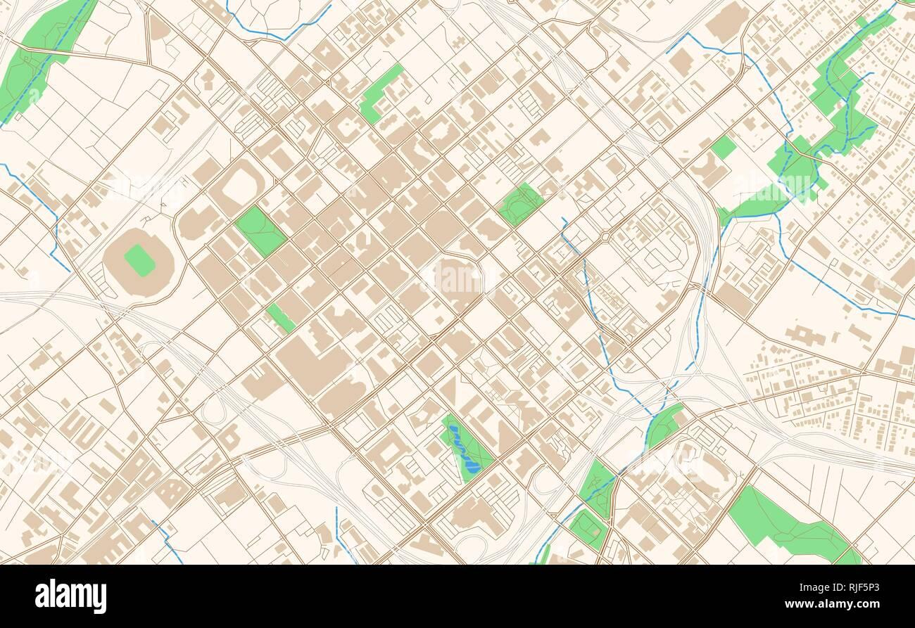 Charlotte North Carolina printable map excerpt. This vector ...