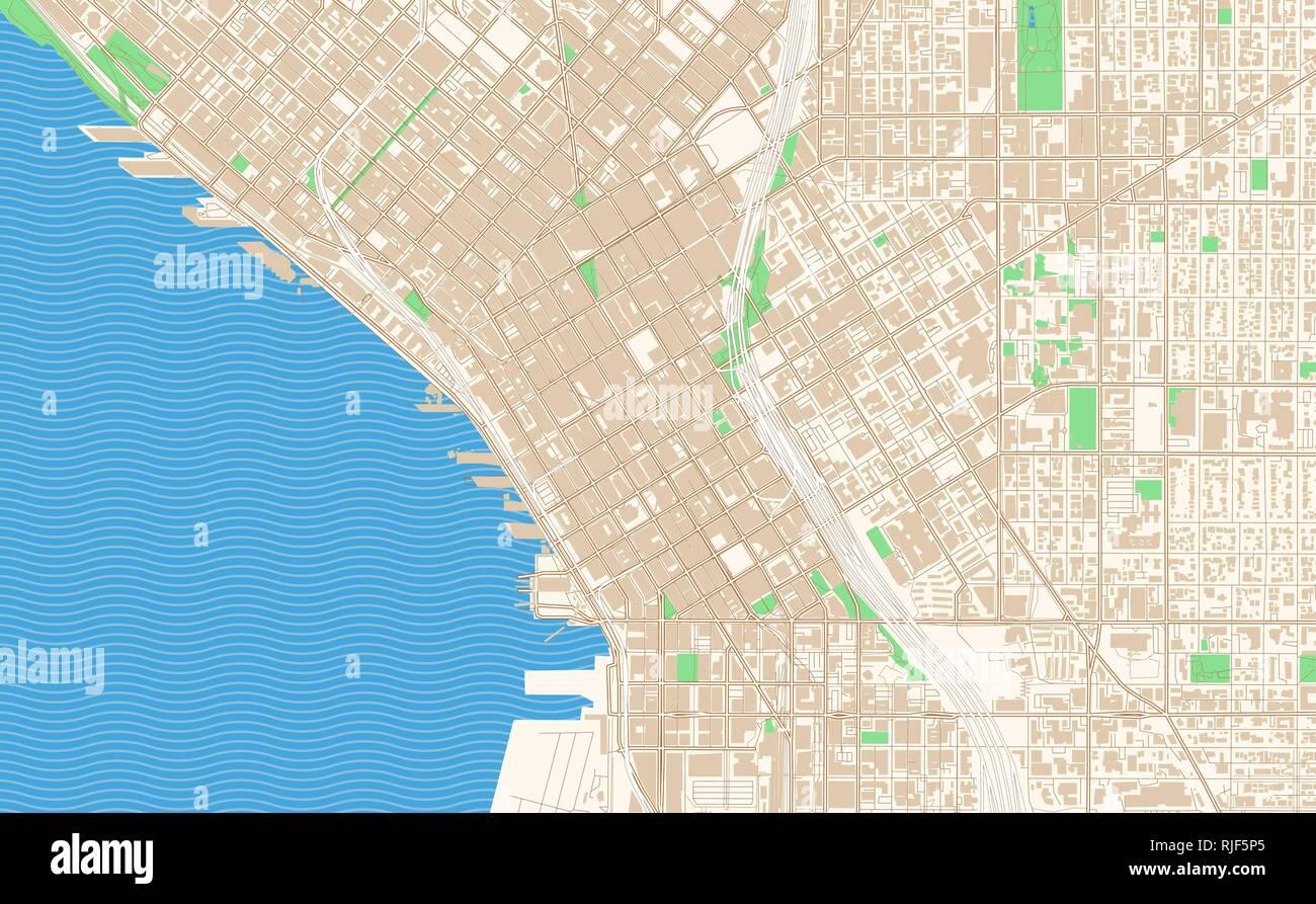 Seattle Washington printable map excerpt. This vector ...