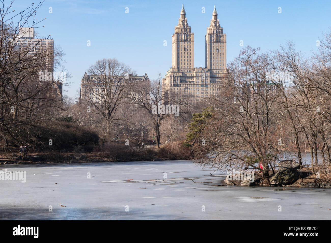 The Lake in Central Park Freezes in Winter, NYC, USA - Stock Image