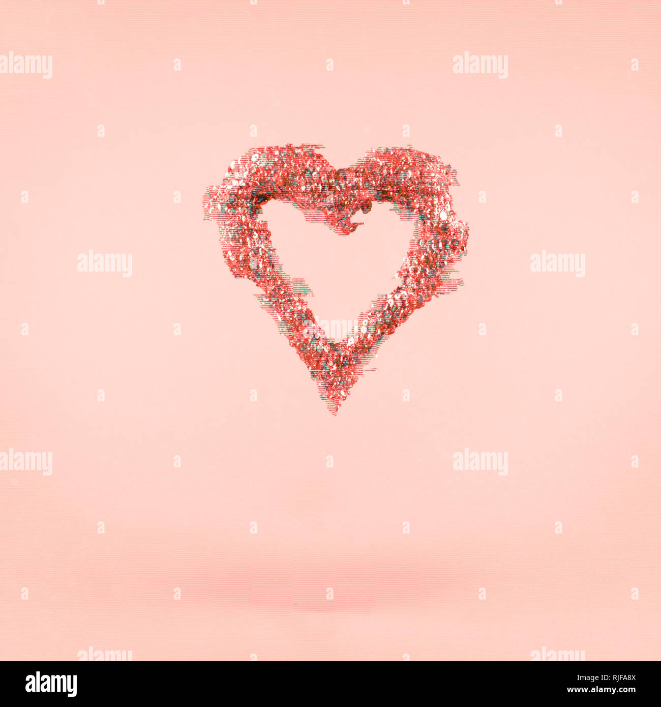 Glitter heart on pink background.  Valentines day and love concept. Square. Glitch effect, colorful disruptive. Living coral - color of the year 2019 Stock Photo