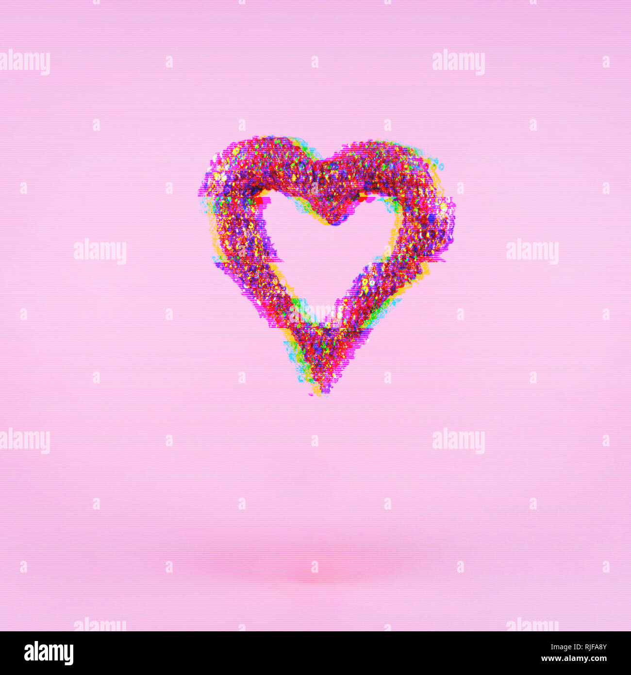 Glitter heart on pink background.  Valentines day and love concept. Square. Glitch effect, colorful disruptive Stock Photo