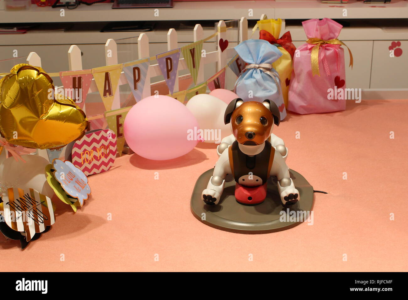 An Aibo robot dogs on a recharger in a Valentine's Day-themed play area in a Sony showroom. - Stock Image