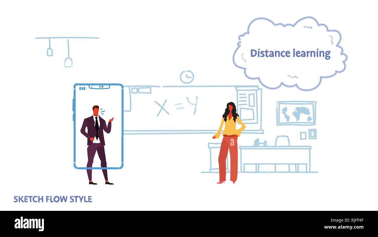 math teacher teaching business man using mobile application standing